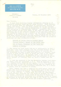 Circular letter from World Council of Peace to W. E. B. Du Bois