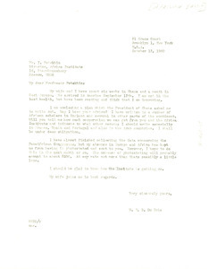 Letter from W. E. B. Du Bois to Africa Institute