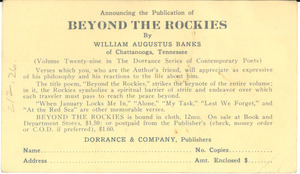 Announcing the publication of Beyond the Rockies