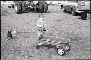 Boy with pull-behind wagon and little dog