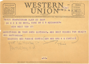 Telegram from Maurice and Fannie Curtis to W. E. B. Du Bois
