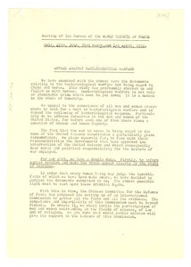 Appeal against bacteriological warfare