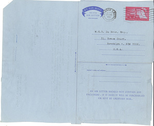 Aerogramme from Fabian Commonwealth Bureau to W. E. B. Du Bois