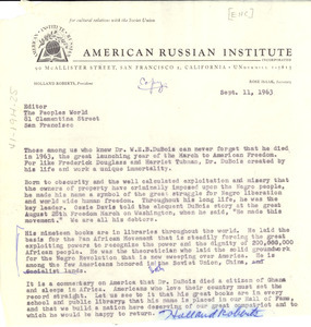 Letter from American Russian Institute to People's World