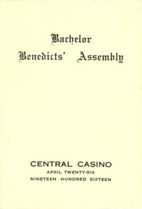 Bachelor Benedicts' Assembly program and dance card