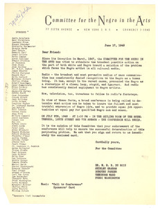 Circular letter from Committee for the Negro in the Arts