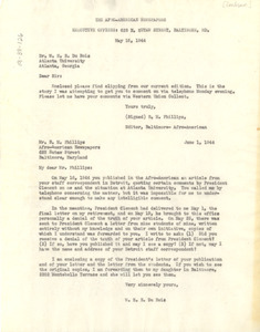 Afro-American Newspapers correspondence