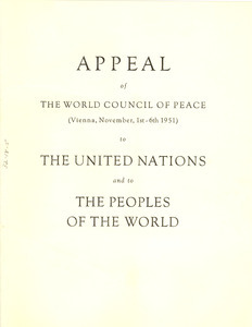 Appeal of the World Council of Peace to the United Nations and to the peoples of the world