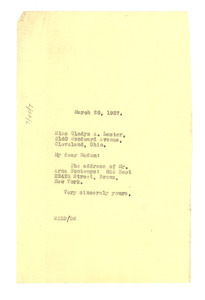 Letter from W. E. B. Du Bois to Gladys Lester