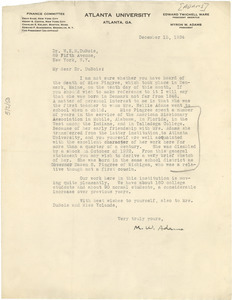 Letter from Myron W. Adams to W. E. B. Du Bois