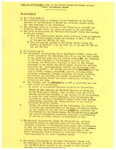 Bill of particulars issued by the United States government against Peace Information Center