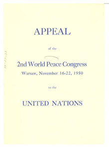 Appeal of the 2nd World Peace Congress to the United Nations