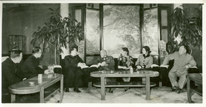 W. E. B. Du Bois and Shirley Graham Du Bois meeting with Chinese officials, including Zhou Enlai and Chen Yi