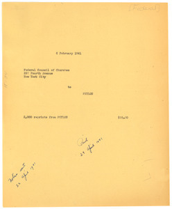 Federal Council of Churches invoice