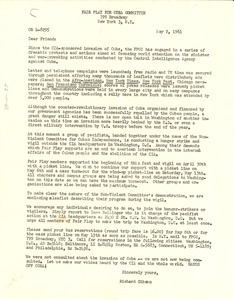 Circular letter from Fair Play for Cuba Committee to W. E. B. Du Bois
