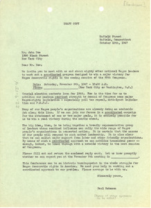 Circular letter from Paul Robeson to unidentified correspondent