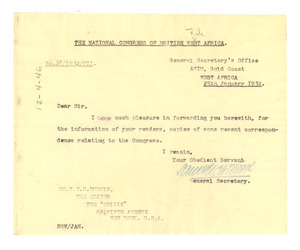 Letter from National Congress of British West Africa to W. E. B. Du Bois