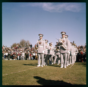 UMass Amherst Marching band at football game