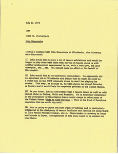 Memorandum from Mark H. McCormack summarizing his meeting with John Newcombe
