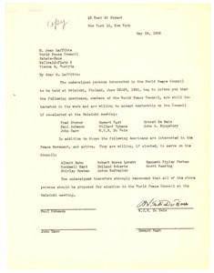 Letter from W. E. B. Du Bois, Paul Robeson, John Darr, and Howard Fast to World Peace Council
