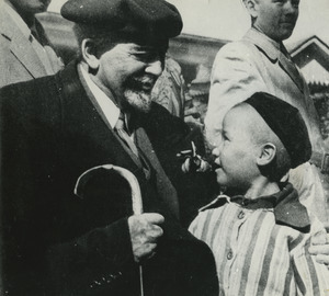 W. E. B. Du Bois talking to a child