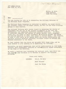 Circular letter from National Negro Congress to unidentified correspondent