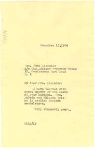 Letter from W. E. B. Du Bois to Minnie Alcindor