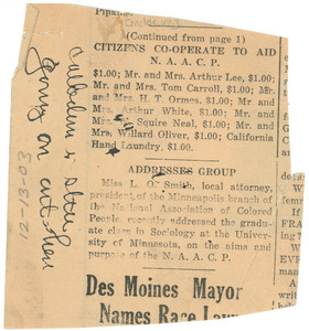 Unidentified partial newspaper clipping with note by J. M. Boddy