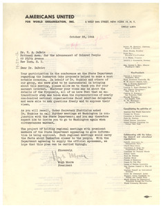 Letter from Americans United for World Organizations, Inc. to W. E. B. Du Bois