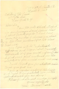 Letter from Bernice Powell to the editor of The Crisis