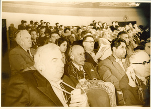 W. E. B. Du Bois in audience at conference in Soviet Union