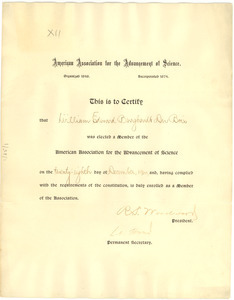 American Association for the Advancement of Science membership certificate