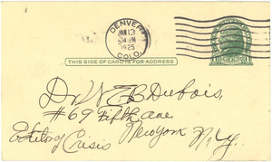 Letter from A. F. Smith to W. E. B. Du Bois