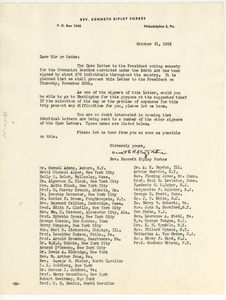 Circular letter from Kenneth Ripley Forbes