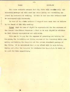 Memorandum to the Chairman of the Board on an estimated budget for the second Pan-African Congress [fragment].
