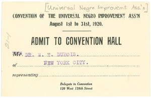 Admit to the convention of the Universal Negro Improvement Association