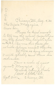 Letter from Valery J. Woods to the Crisis