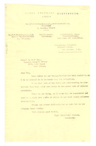 Letter from Negro Progress Convention to National Congress of British West Africa