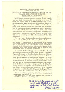 Contemporary opposition to the political and educational ideas of Booker T. Washington