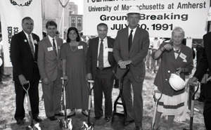 Ceremonial groundbreaking: group including Gov. William Weld (second from right) and Corinne Conte