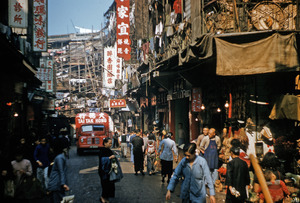 Busy street with bamboo scaffolding