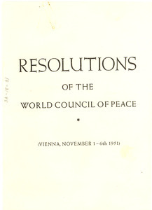 Resolutions of the World Council of Peace