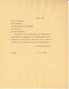 Letter from W. E. B. Du Bois to Mary Louise Hooper
