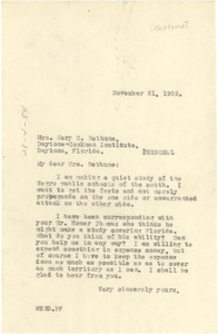 Letter from W. E. B. Du Bois to Mary M. Bethune