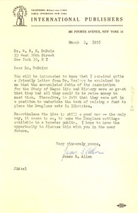 Letter from International Publishers to W. E. B. Du Bois