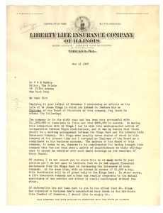Letter from Liberty Life Insurance Company of Illinois to W. E. B. Du Bois [fragment]