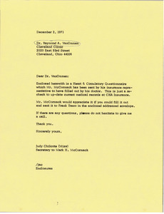 Letter from Judy Chilcote to Dr. Raymond A. Van Ommen