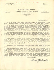 Circular letter from National Citizens Committee on Relations with Latin-America to W. E. B. Du Bois