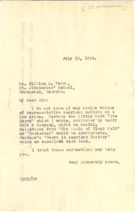 Letter from W. E. B. Du Bois to William A. Perry