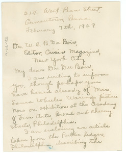 Letter from Beulah G. McNeill to W. E. B. Du Bois